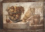 Kristallschussel with fruits Wandschmuch out of the villa di Boscoreale